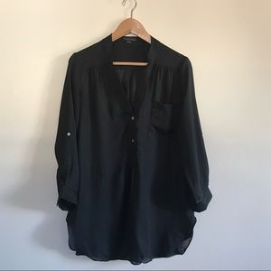Flowy Sheer Tunic Top Blouse in Black